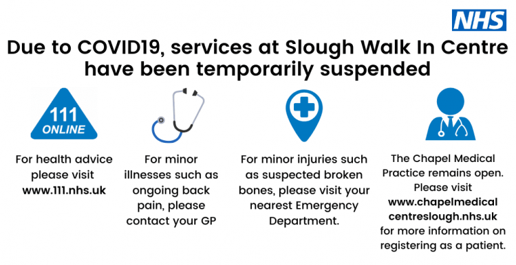 Due to COVID19 services at Slough Walk In Centre have been temporarily suspended