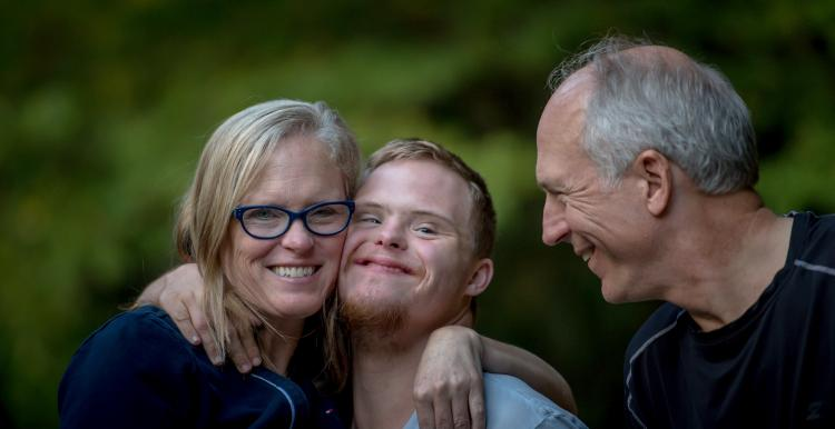 Mother, father and special needs son